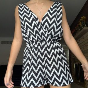 black and white zig zag romper